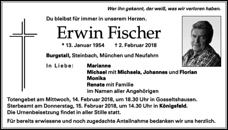 Erwin Fischer Donaukurier Trauerportal