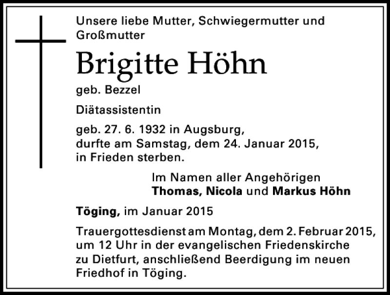 Trauerportal Höhn Brigitte Höhn Donaukurier Brigitte
